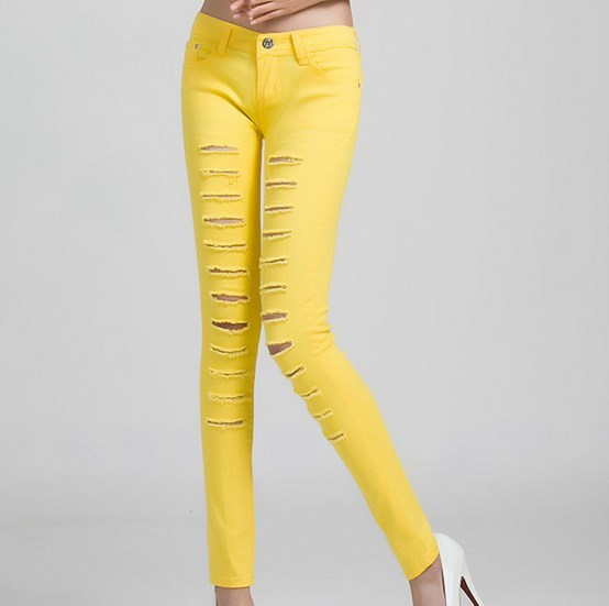 Aliexpress.com : Buy Candy Color Torn Skinny Jeans Woman Stretch ...