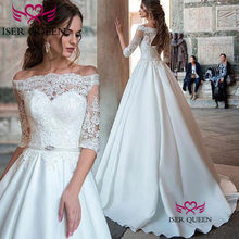 Vintage Boat Neckline with Embroidery Pure White Marriage Prom Dresses Ruffles Small Train Lace up Vestido Brazilian Style w0549(China)