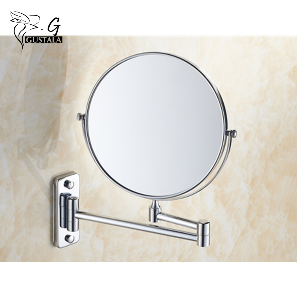 Gustala 3X Magnifying Beauty Makeup Mirror Wall Mounted Bathroom Toilet Cosmetic Mirror Foldable Double Sided Mirror Design fashionable design hot sale bathroom makeup mirror multiple colors wall mounted