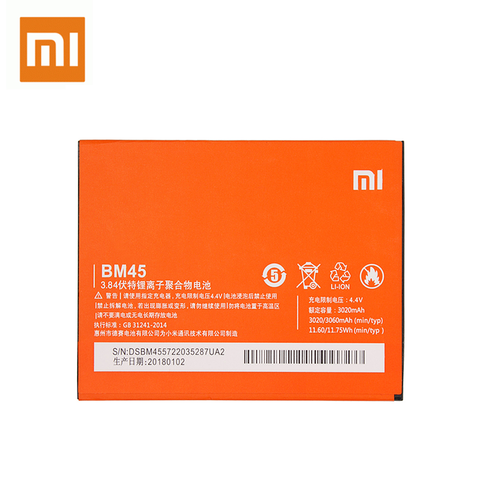 Xiao Mi BM45 Original Battery For Xiaomi Mi Redmi Note 2 Redmi Note2 High Capacity Replacement Rechargeable Phone Batteria in Mobile Phone Batteries from Cellphones Telecommunications