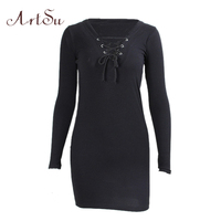 ArtSu Women Skinny Knitted Short Dress Long Sleeve Autumn Winter Bodycon 2017 Sexy Lace Up Club