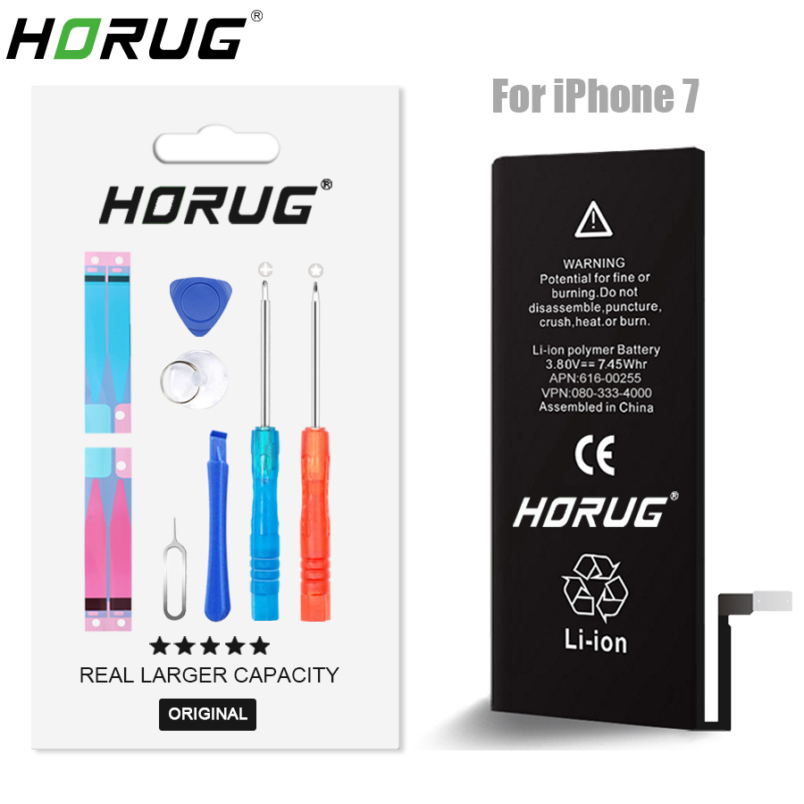 2018 NEW HORUG 100 Original Mobile Phone Battery For IPhone 7 Battery Original Capacity Sticker Replacement
