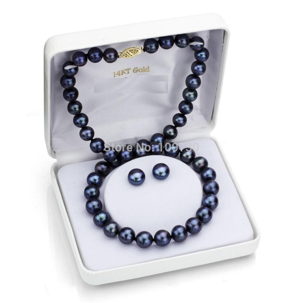 Jewelry 00745 AAA 10-11mm Black South Sea Pearl Necklace 18 and Stud Earring SetJewelry 00745 AAA 10-11mm Black South Sea Pearl Necklace 18 and Stud Earring Set