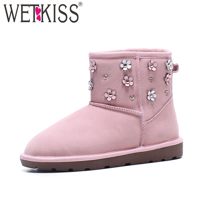 WETKISS Warm Snow Boots Winter Sweet Appliques Pink Ankle Boots Fur High Quality Genuine Leather Suede Female Shoes Woman 2018 цены онлайн