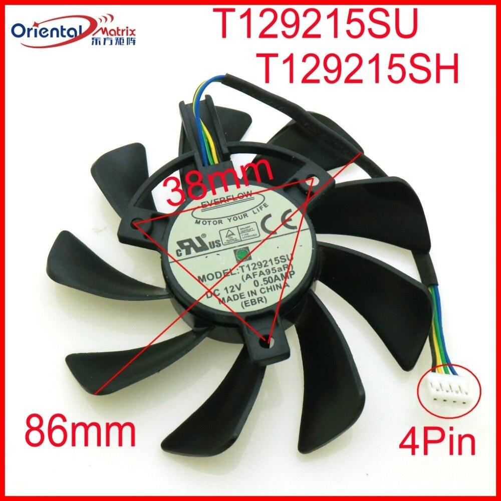 Envío libre T129215SU T129215SH 12 V 0.50A 86mm 38x38x38mm para ZOTAC GTX1060 tarjeta gráfica ventilador 4 alambre 4Pin