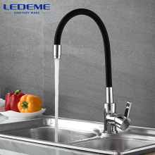 LEDEME Chrome Finish Kitchen Sink Faucet Single Handle Polished Taps Brass Mounted Mixer Water Taps Basin Faucets L4898 -2