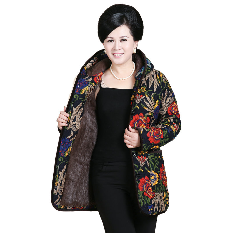 WAEOLSA Winter Woman Hooded Fleece Jacket Flower Quilted Coat Thicken Warm Padded Overcoat Middle Aged Womens Wadded Jacket Mom моторное масло wolf vitaltech 5w30 4л