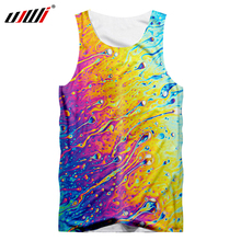UJWI Large Size 5XL Tank Tops Men Fashion 3d Colorful Water Drops Tanktop Boy Hip Hop O Neck Sleeveless Undershirt Jerseys Vest