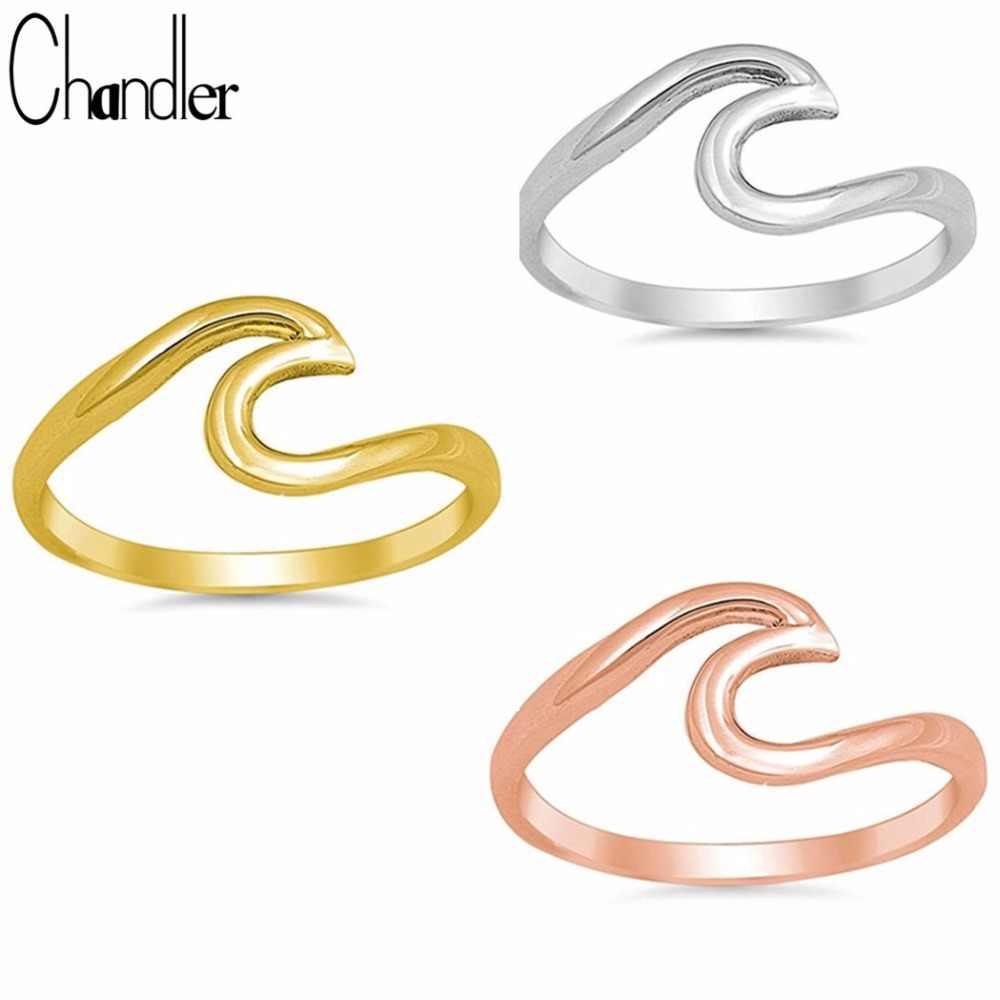 Chandler Mùa Hè Bãi Biển Sóng Nhẫn Rose Gold Dây Làm Bằng Tay Bọc Surf Nhẫn Thiết Kế Đơn Giản Tối Giản Midi Finger Knuckle Toe Bague