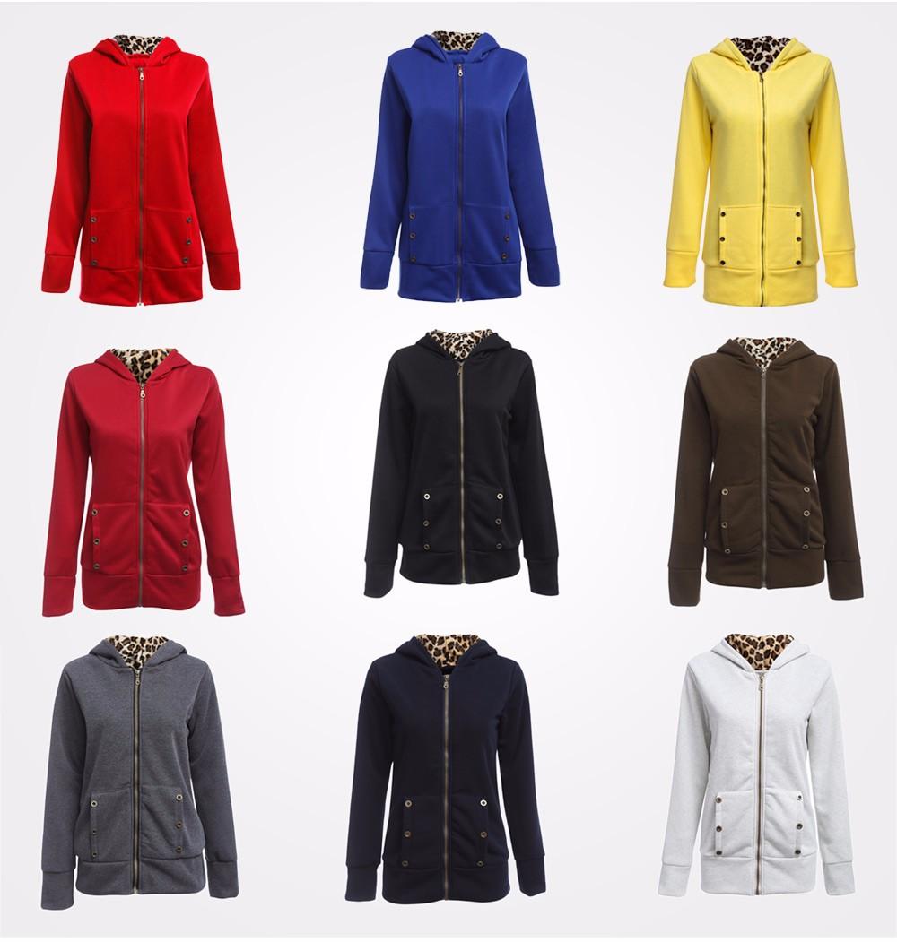 VESTLINDA Plus Size Women Winter Coat Trendy Hooded Women Outerwear Sweatshirts Stylish Leopard Print Zipper Coat Casual Jacket 9