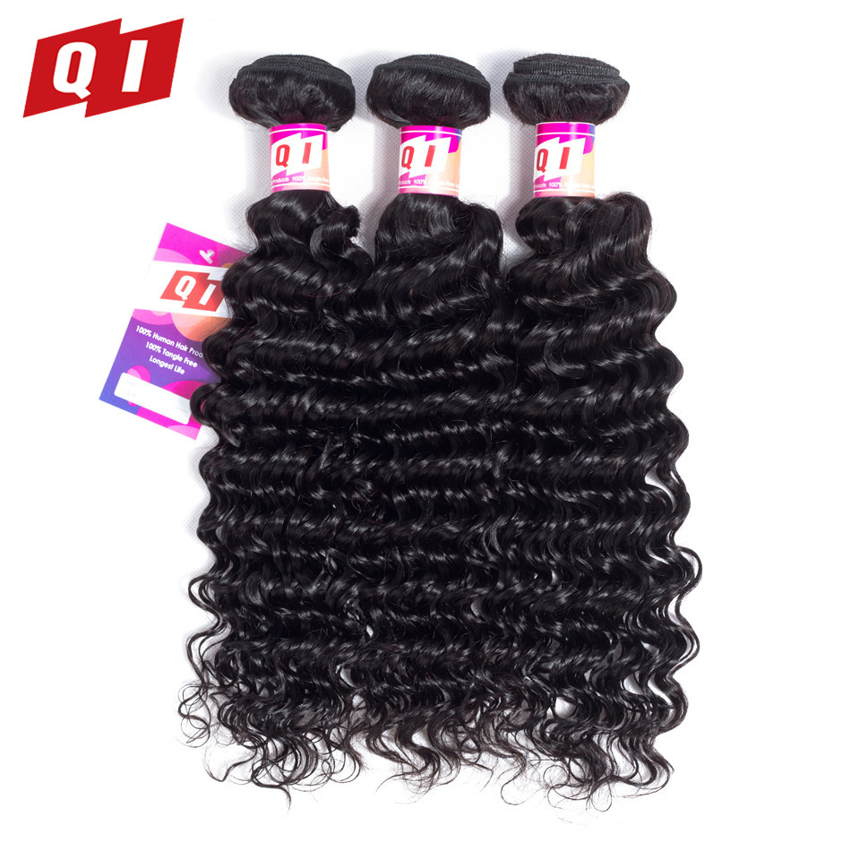 QI Hair Peruvian Deep Wave 3 Piece Hair Bundles Non Remy Human Hair Extensions Double Weft