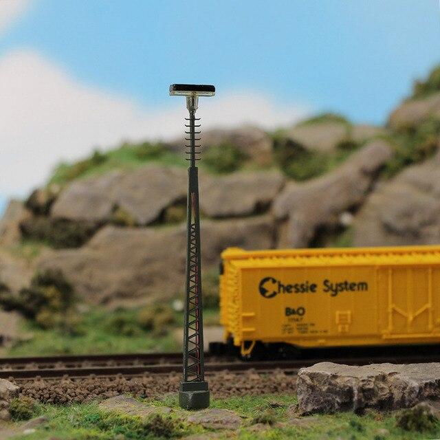 3 個 N ゲージランプポスト 80 ミリメートル 1:150 はしご街路灯魚骨型ポストモデル鉄道列車 led ミニチュア LQS64N