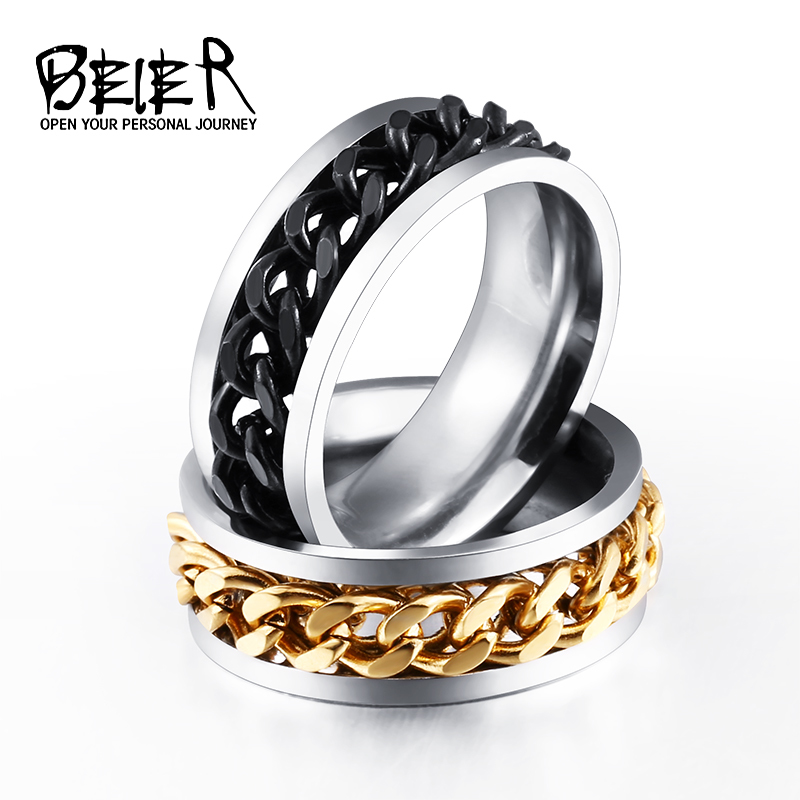 BEIER New Part Plated-Gold / Black Man's Spin Chain Ring voor roestvrij staal Cool Man Woman Fashion Wedding Jewelry BR-R054