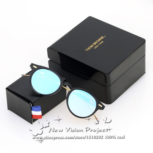 Thom browne óculos de sol do metal rodada óculos de sol dobráveis homens & das mulheres designer de marca oculos de grau tb806 new moda óculos de sol óculos