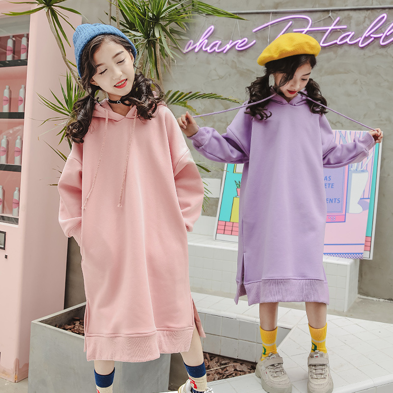 2018 Winter Hooded Dress For Girls 4 5 6 7 8 9 10 11 12 13 14 Year Teenagers Kids Clothes Child Casual Sweatshirt Dress Big Girl