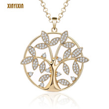Tree of Life Crystal Necklace & Pendant Big Round Gold Color Rhinestone Lovely Sweater Chain Long Necklace 2019 Fashion Jewelry fashion wild necklace symmetrical five petal flower blue rhinestone elegant rhinestone pendant sweater long necklace jewelry