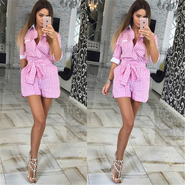 Ahagaga 2017 New Spring suit Cute sets Women Costume 2 Colors Casual Plaid collar bow 1-piece tie Casual Women suit Female Sets