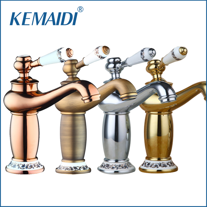 KEMAIDI Great Quality Mordern Bathroom Faucet Antique Bronze Finish Brass Basin Sink Faucet Single Handle water