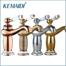 Kemaidi отличное качество mordern Ванная комната кран античная бронза латунь отделка бассейна раковина кран Одной ручкой водопроводной воды torneira
