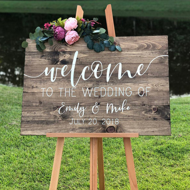 Wedding Decor Wedding Welcome Decal Personalized Couples Names and Dates Vinyl Mirror Board Wall Sticker Removable Art AY1932(China)