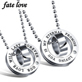 Fashion jewelry couple necklace set for lovers double round design pendants necklaces stainless steel accessories jewellery gift