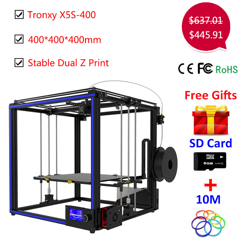 Upgrade Tronxy X5S 400*400*400mm 3D printer Kit Dual-Z axis High Precision Aluminum Stable Printing Tronxy Large 3D printer DIY tronxy education 3d printer diy kit high precision stable aluminium profile 220 220 300 tronxy diy 3d printer with auto leveling