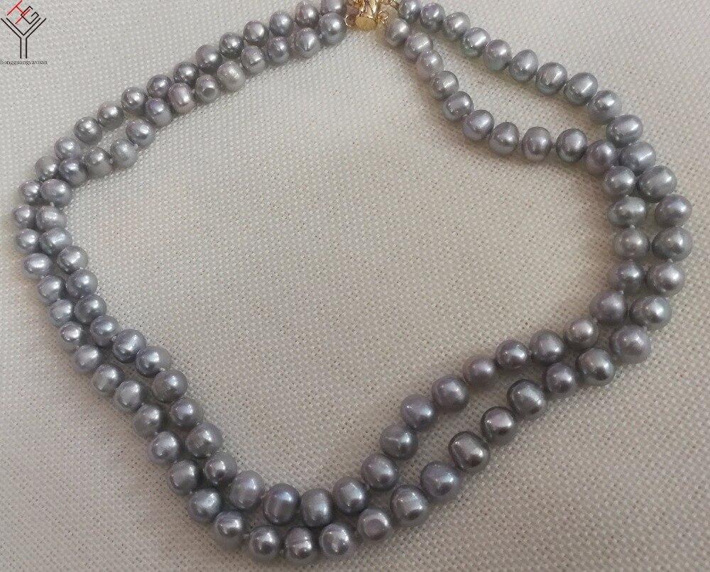 Bijoux femmes collier 2 couches 9x10mm perles grises collier fait main perle de culture d'eau douce naturelle