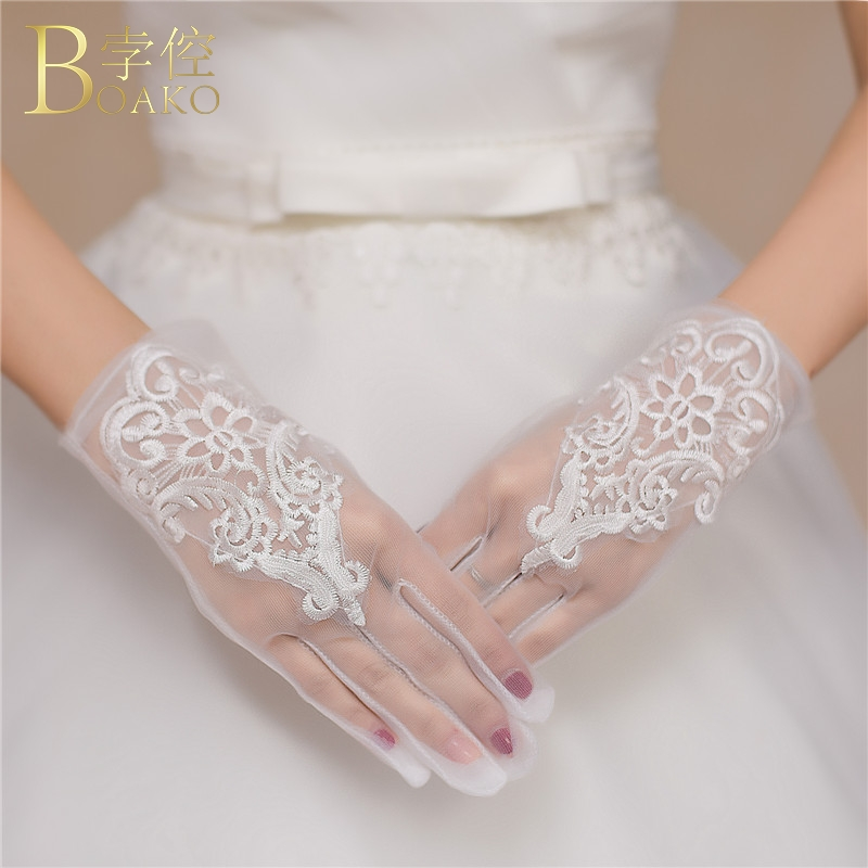 BOAKO Lace Wedding Gloves Women Short Bridal Gloves White Tulle Wrist Length Luvas De Noiva Girl Wedding Party Gloves K5