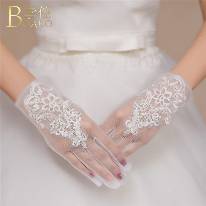 BOAKO Lace Wedding Gloves Women Short Bridal Gloves White Tulle Wrist Length Luvas De Noiva Girl Wedding Party Gloves K5