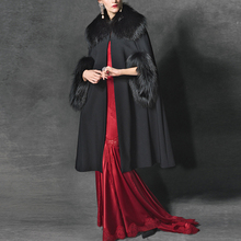 Autumn and winter new high-end custom fashion hair collar cashmere coat in a long