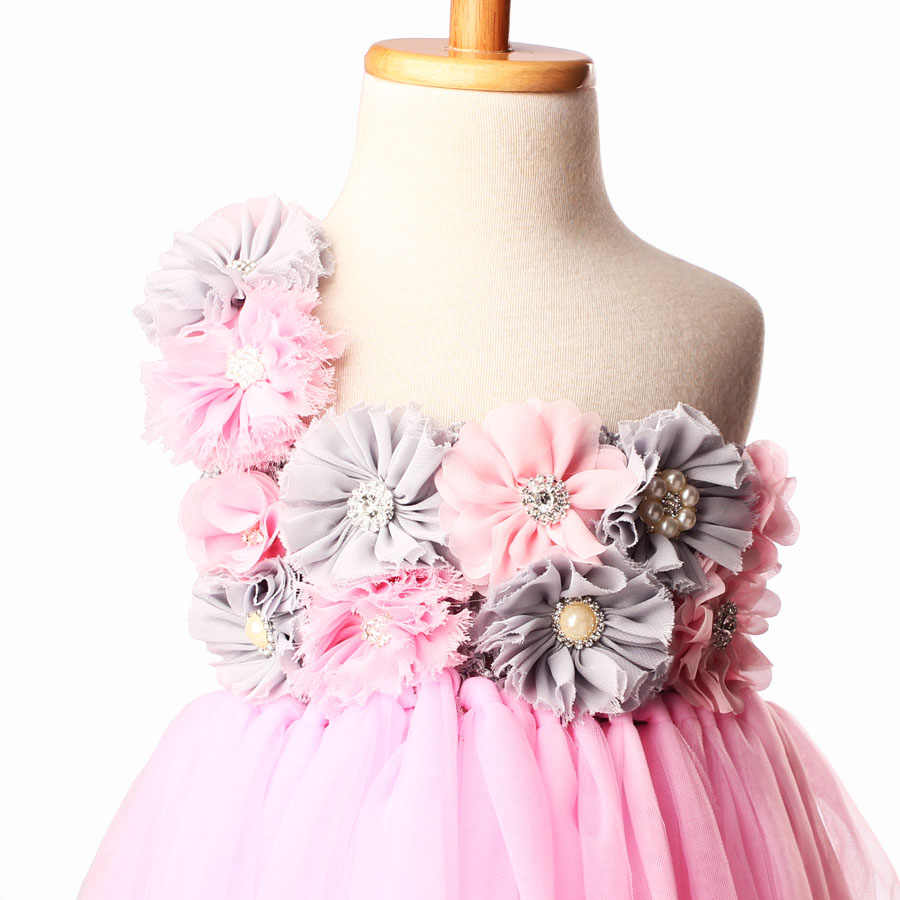 f8bbad4a21 Light Pink Tulle Tutu Dress with Flowers for Girls Children Wedding  Birthday Party Dress Kids Girl Ball Gown Tutus