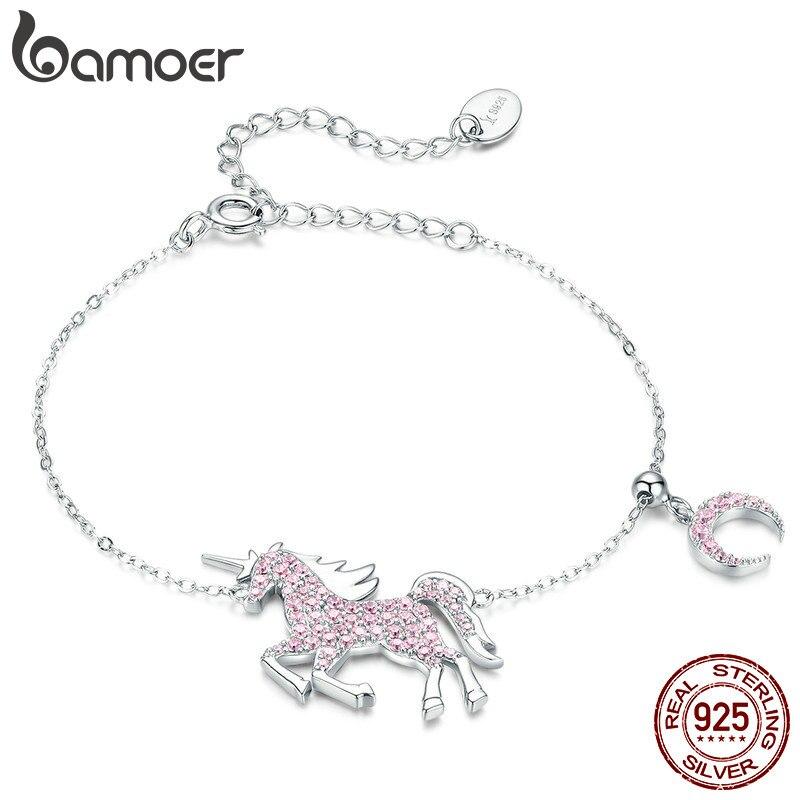 Bamoer Licorne Luna caballo cadena pulseras plata esterlina 925 Femme Pegasus diseño joyería Rosa CZ Bijoux para chica SCB155
