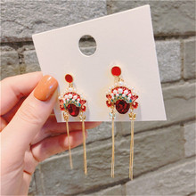 Ethic Peking  Opera Face Tassel Red Rhinestone Anti-allergy Woman Girls Dangle Drop Earrings Fashion Jewelry-QQD5 цена