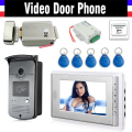 "7"" Screen Video Door Phone Doorbell Intercom System + Electric Lock+Alunimum pane Camera + Power Supply+ Door Exit+ ID Keyfobs"