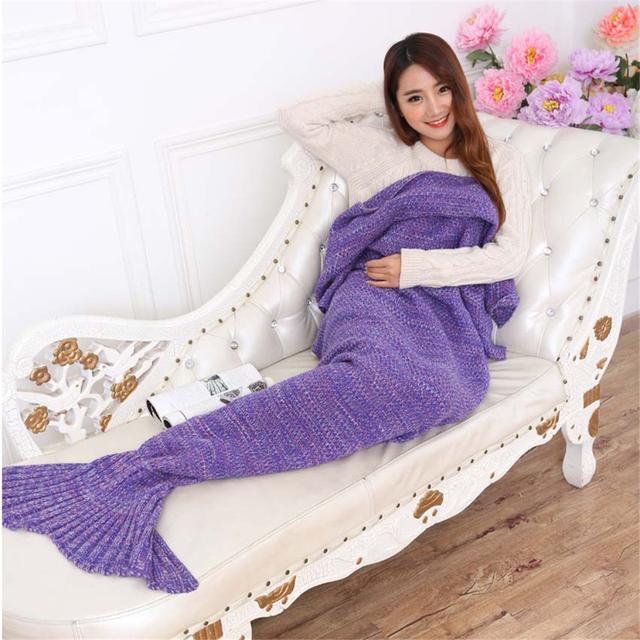 195x90 CM de Punto de Ganchillo Mermaid Tail Manta Súper Suave Cama Para Dormir Portátil Manta Para El Invierno Otoño