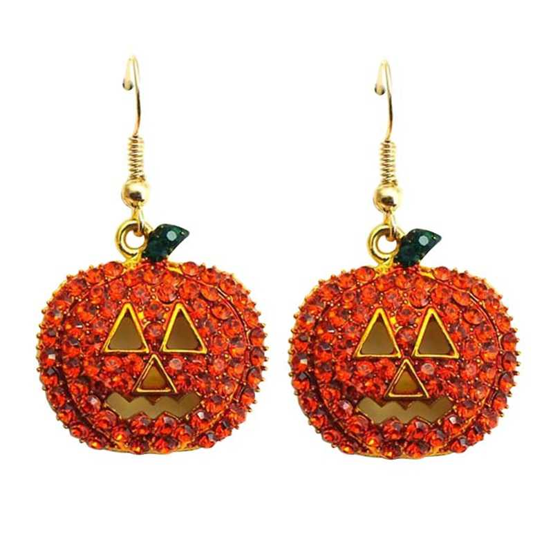 1 Pair New Gold Full Crystal Rhinestone Pumpkin Drop Dangle Earrings Halloween Christmas Earrings Jewelry
