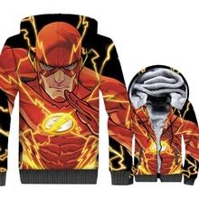 The Flash Jacket Men Super Hero Hoodie Fitness Hipster Sweatshirt Winter Fleece Zipper 3D Print Coat Brand Hip Hop Streetwear