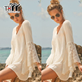 THYY White Lace Beach Women's dress Loose V-Neck Summer dress women mini clothing 2017 Summer Loose Beach dress white vestido