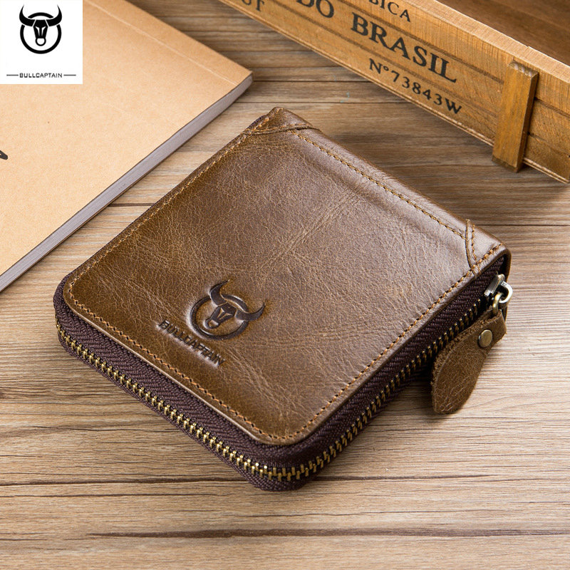 100% genuine leather vintage wallet men with coin pocket short wallets small zipper walet with card holders man purse