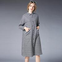 Plaid Loose Big Size Cotton Shirt Dress Spring Female Turn Down Collar Buttons Casual Dress 4XL