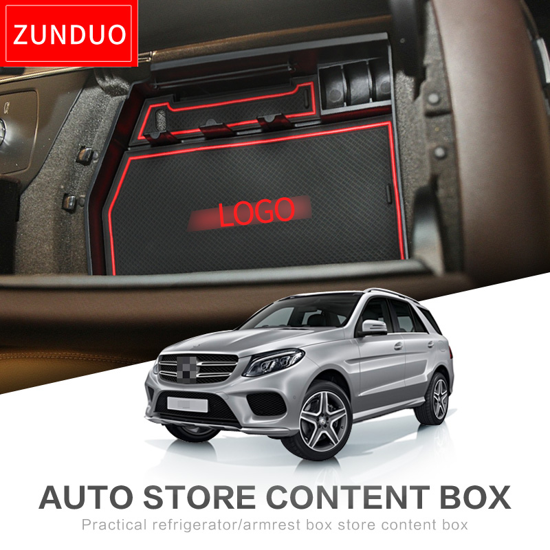 Armrest Box Storage for Mercedes Benz ML GLE 2012-2017 W166 GL GLS X166 300 350 350d 450 500 550d Coupe 2013 2014 2015 2016 AMG image