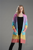 New knit long section loose round neck large size rainbow striped cardigan sweater women