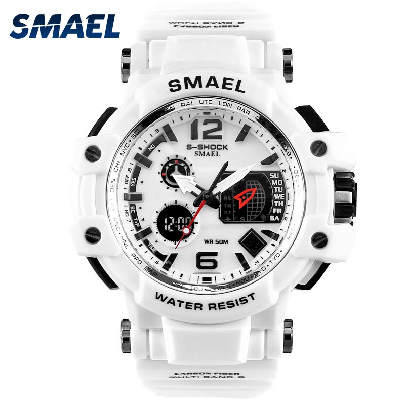 SMAEL Sport horloge 50M Waterproof White SShock Horloges Man relogio masculino Cool Military Army Clock Heren Alarm LED Digital Watch