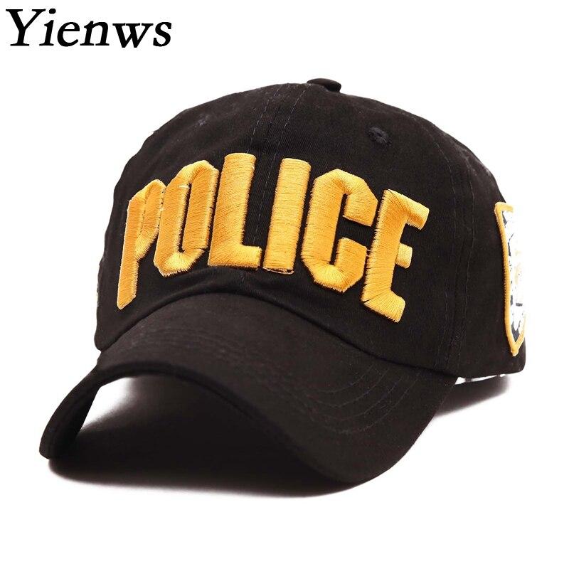 Prix pour Yienws Hommes D'été Casquette de baseball Pour Homme Coton Noir Bord Os Courbe Cap New York Police NYPD Chapeau De Camionneur YH123