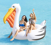 220cm Giant Inflatable Pelican Pool Float 2018 Newest Ride On Swan Life Buoy Swimming Ring Fun Water Sports Beach Toys for Adult