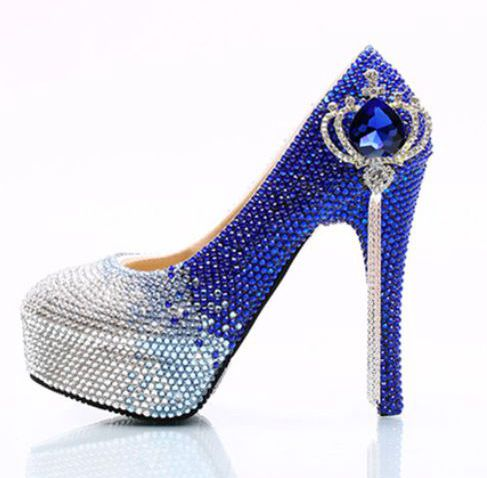 Blue silver crystal wedding shoes women, super high heels diamond tassle rhinestones handmade ladies christmas party shoe HS164