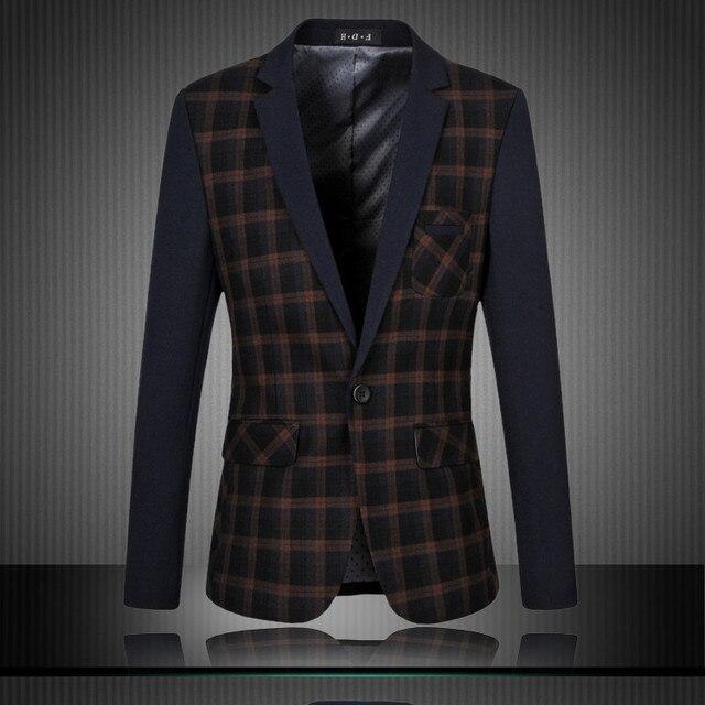 738953c7b903 2015 New Brand Designer Mens Blazer Suit Fashion Classical Plaid Check  Printed Blazer Masculino Mens Blazer Jacket Casual Blazer