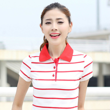 Polo Shirt Women 2017 Summer Hot Sale POLO Shirt Femme Raph Turn-Down Collar Cotton Short Sleeve Striped Tops Big Size Plus Size