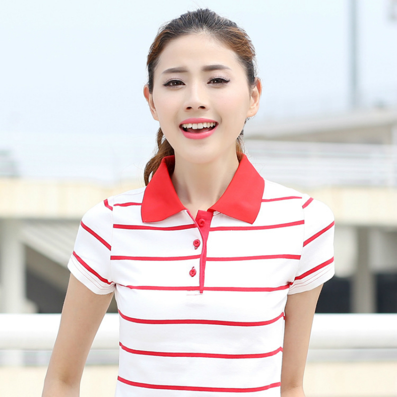 Polo Shirt Women 2017 Sommar Hot Sale POLO Shirt Femme Raph Turn Down Collar Bomull Short Sleeve Striped Toppar Stor Storlek Plus Storlek