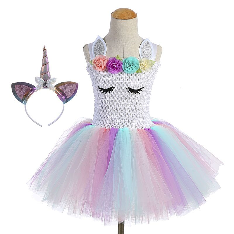 Cute Girl Unicorn Tutu Dress for Little Kid Flower Pony Birthday Party Knee Length Dress Outfit Pastel Unicorn Halloween Costume (4)